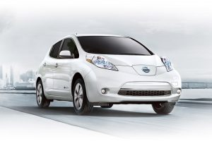 2016 Nissan Leaf on the road.