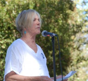 Frances Burke, Yolo Move-on active citizen, spoke at the crude by rail victory celebration 2016