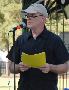 Roger Straw, editor of the Benicia Independent, at the crude by rail Victory Celebration 2016