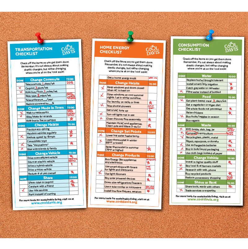 Cool Davis sustainable living checklists