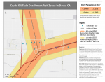 Davis railroads with .5 US DOT Evacuation Zone for crude oil train derailments and 1.0 mile US DOT Potential Impact Zone for Crude Oil Train fires
