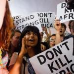 Anjali Appadurai at protest in Durban