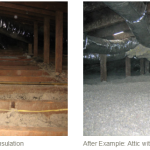Before and after attic insulation