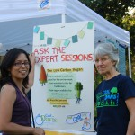 Clara Perez and Lynne Nittler point out one of many experts who visit the Cool Davis booth at the Farmer's Market.