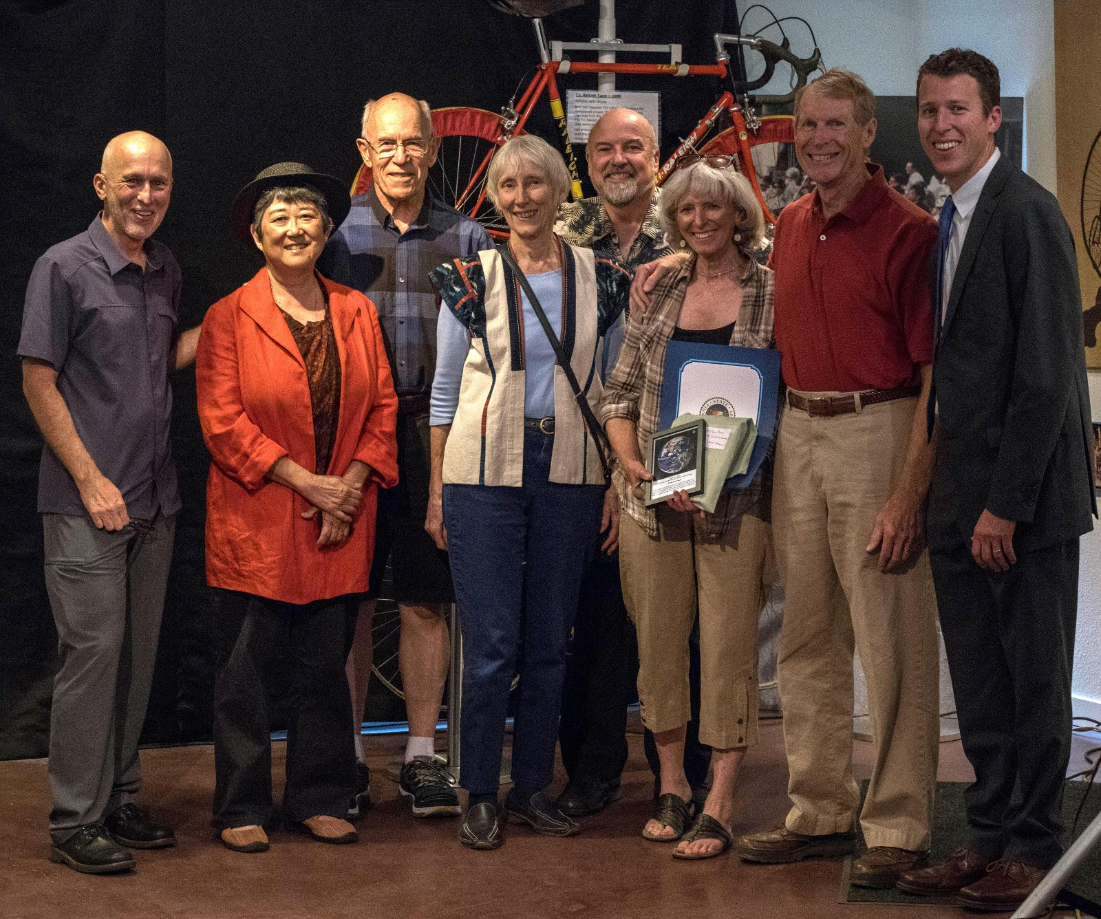 A proud group of Parkview Place residents, including gayle yamada, Jerry Schimke, Kay Schimke, David Hosley, Carol Bourne and Dick Bourne pose with their new Cool Davis Climate Solution Award. Cool Davis recognized Parkview Place for incorporating a creative combination of heating, cooling, and hot water systems that easily exceeded the goal of net-zero performance in its first year. In addition Parkview also deserves the award for its accomplishments in the areas of transportation, water conservation, sustainability, and innovation in senior living.