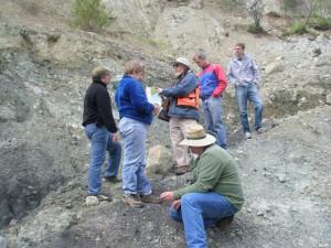 Eldridge Moores guiding a geology fieldtrip