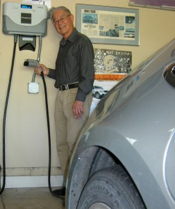 Andy Frank charging his PHEV at home.