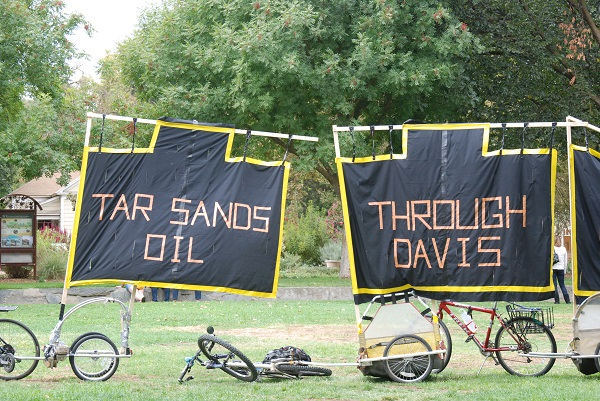 In Davis CA we protested oil tankers passing through town every night to bay area refineries- Copy