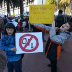 "Kristin's ""radical"" sons at the Feb. 17 Climate Rally in SF. Benjamin (10) and Peter (13) Holderbein"