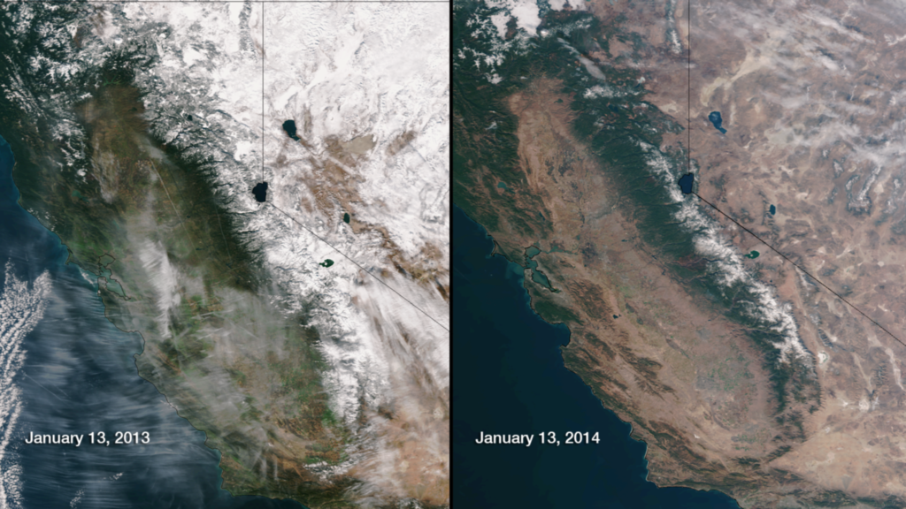 January 13, 2014. Snowpack in the Sierra Nevada, Jan. 13, 2013 vs. Jan. 13, 2014 (Photo credits: NOAA).