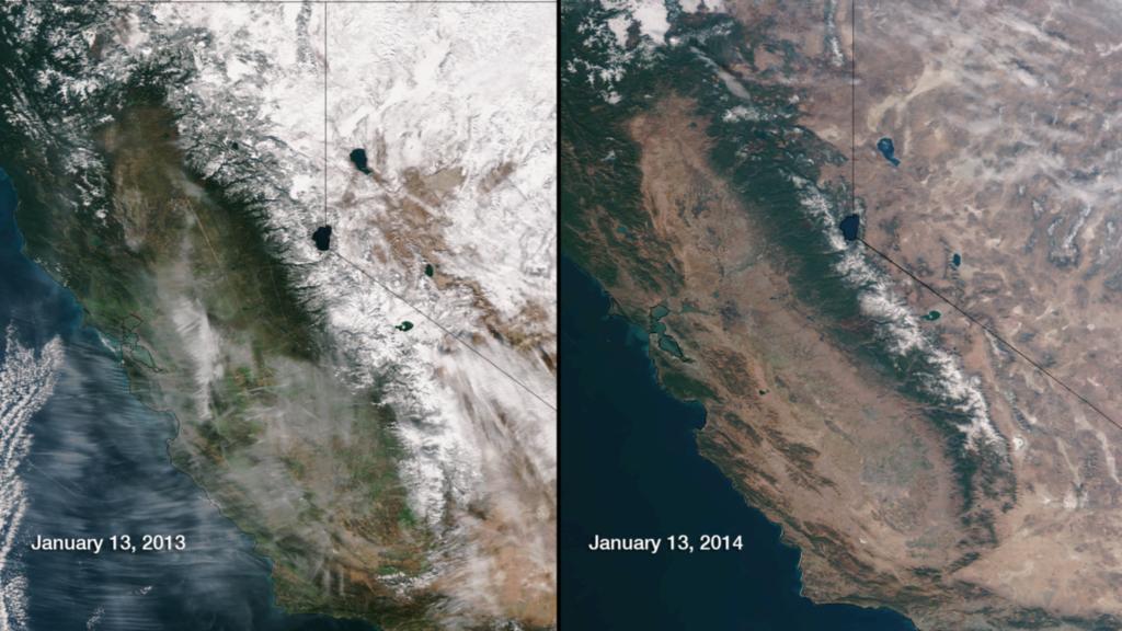 January 13, 2014. Snowpack in the Sierra Nevada, Jan. 13, 2013 vs. Jan. 13, 2014 (Photo credits: NOAA).