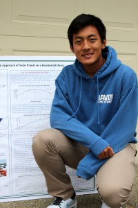 "Davis High School Junior, Kaiyue ""David"" Wong, winner of 2015 Cool Davis Eco-hero award in the Energy category, poses with his research poster, ""Fighting Global Warming: Optimization Approach of Solar Panels on a Residential Home"" that was presented at the recent Synopsys Sacramento Regional STEM Fair."