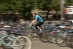 Biking through the many bike racks on campus