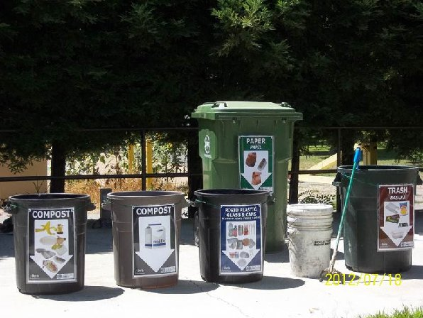 Composting trash cans at Davis Elementary School