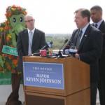 Davis mayor Joe Krovoza speaking at the launch of Cool California Credit: Allison Thompson